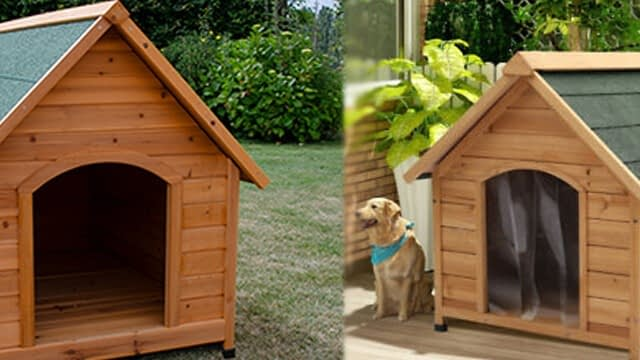 Wooden dog kennels of Ferplast's