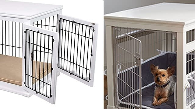 Wood & wire dog luxury kennel with cushion