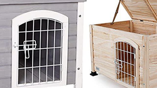 Petsfit indoor wooden dog house with a wire door