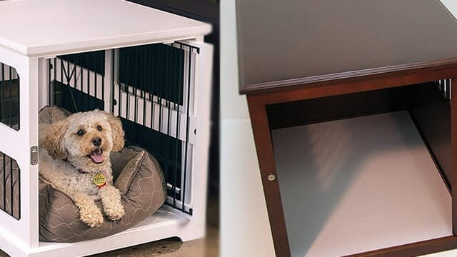 Crown pet products wooden dog crate end table