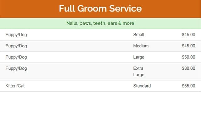 Petco dog grooming prices